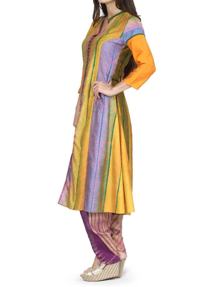 Tie Dye Long Tunic With Dhoti Pants | Krishna Mehta | BYELORA.COM