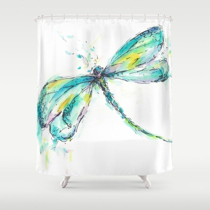 Watercolor Dragonfly Shower Curtain 68 99 At Society6 Com
