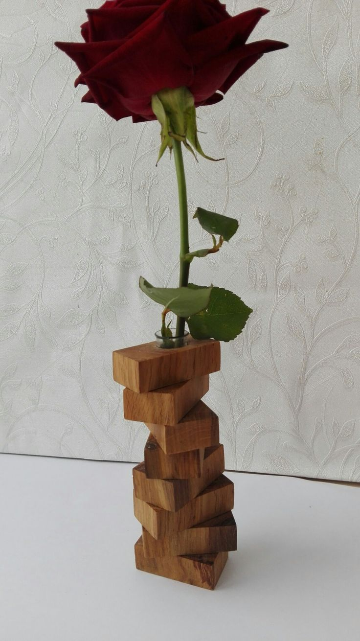 Good Wooden Flower Vase With Test Tube, Wooden Bud Vase, Test Tube Vase, Flower Good Ideas