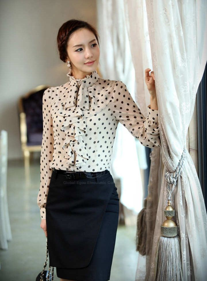 Elegant style stand collar polka dot flouncing embellished for Stand collar shirt womens