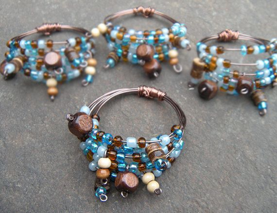 bohemian style beaded napkin rings shower gift by Nicclectic, $20.00