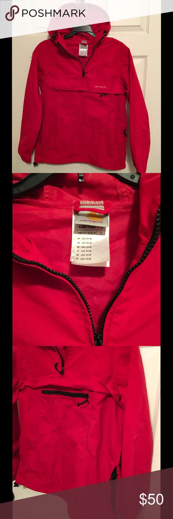Carhartt Hoodie Pullover Carhartt Hoodie Pullover 100% Nylon. Excellent used condition, worn a couple times, no flaws. Size:S, Color:red. Carhartt Jackets & Coats Lightweight & Shirt Jackets