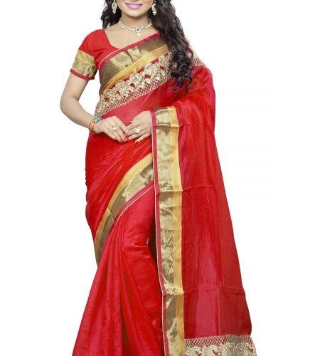 Buy Designer Sarees : Apparel mart Red pure bhagalpuri cotton saree online