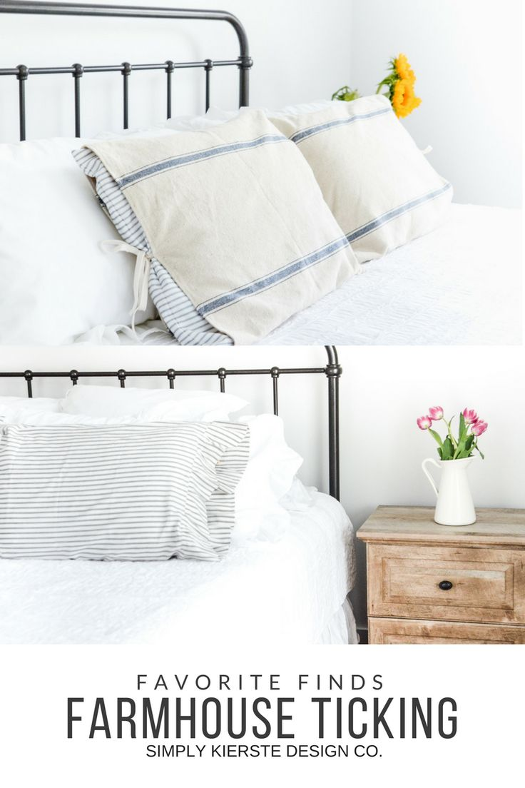 A collection of favorite farmhouse ticking finds, including pillow covers, bedskirts, and more! Ticking is an easy way to add farmhouse style to your home!