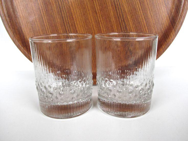 Set Of 2 Durobor Alaska Lowball Bar Glasses, Vintage Rocks Glasses From Belgium, Scandinavian Style Textured Barware by HerVintageCrush on Etsy