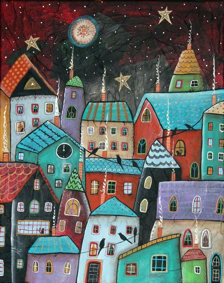 CITY Pájaros Gatos Casas FOLK ART Karla G ... nueva pintura a la venta ... terminó hoy ... #FolkArtAbstractPrimitive