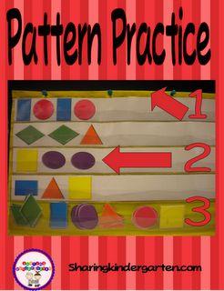 Pattern Idea with FREEBIE so you can use this easy!: Math Patterns, Classroom Freebies, Patterns Practice, Kindergarten Math, Shared Kindergarten, Math Ideas, Preschool Pockets Charts Ideas, Patterns Kindergarten, Freebies Friday