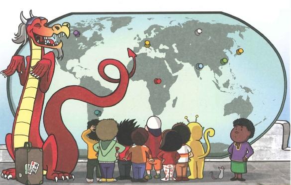 """Drago está muy contento por los viajes que ha realizado y les cuenta su historia a sus amigos.    """"Nací en un volcán de Italia y después fui a Japón,cogí un barco hasta China y puse un pié en Argentina.En Kenia encontré un león y en Rusia quise quedarme.Poco después fui a la India,pero acabé en Canadá. Conoce más en http://www.educandojuntos.es/2013/05/vamos-celebrarlo.html"""