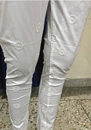 India Chikan White Cotton Designer Ethnic Legging Churidar with rich Hand Lucknow Chikankari Embroidery - BOTTOMS - WOMEN Collection
