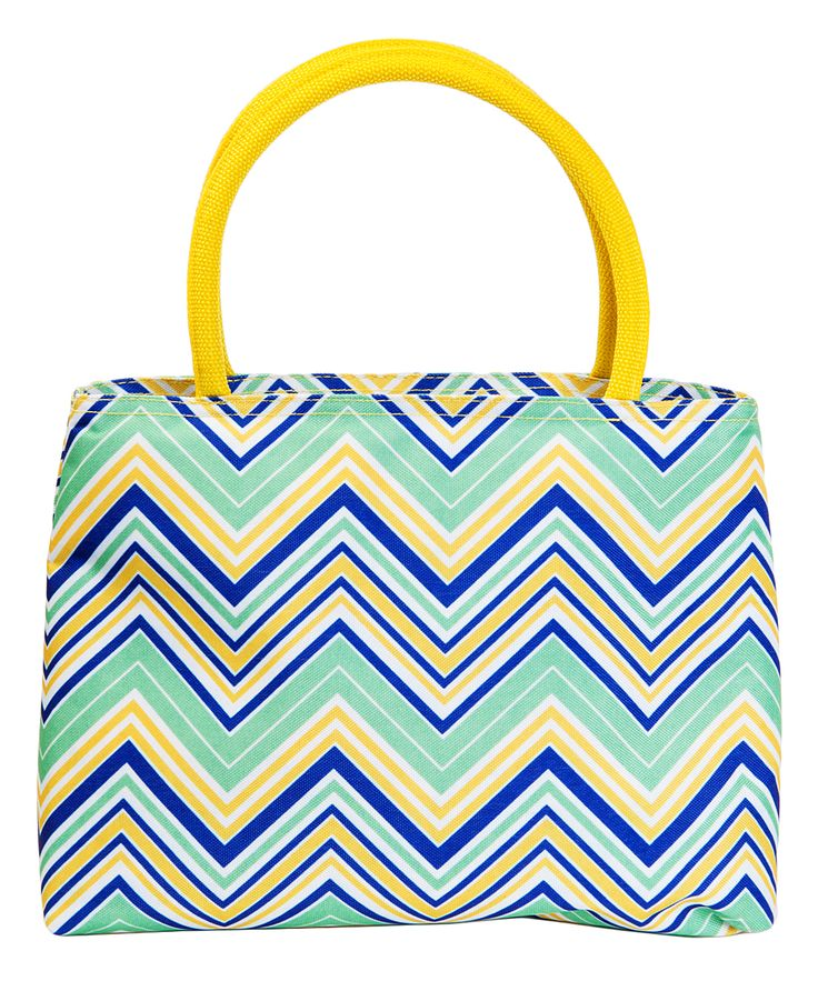 Yellow & Green Chevron Insulated Lunch Tote