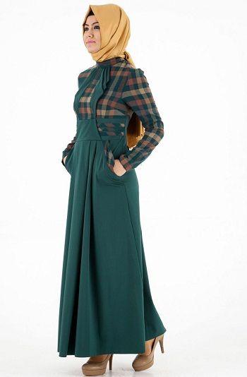 koyu-yesil-tesettur-elbise-modeli