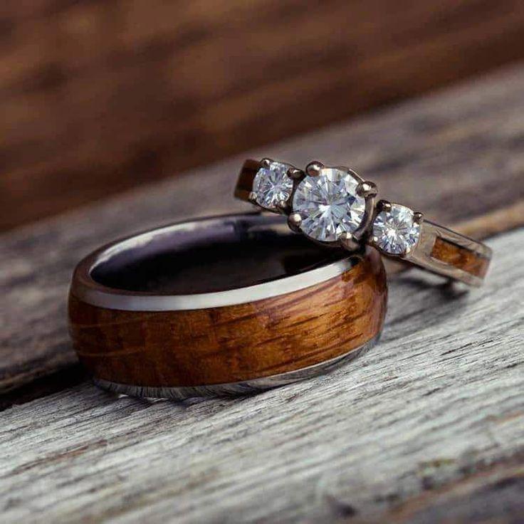 Wood Wedding Ring Set, White Gold And Titanium Rings-3781