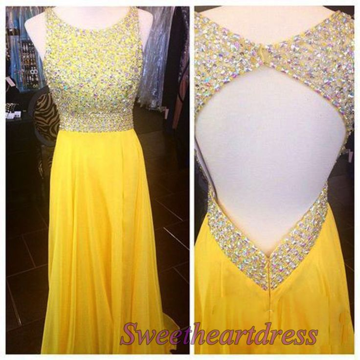 Yellow chiffon prom dresses long, ball gown 2016, cute handmade occasion dress for teens sweetheartdress.s... #coniefox #2016prom