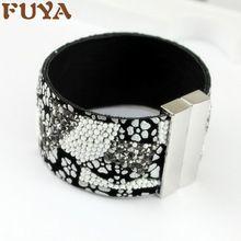 Nuove donne di modo braccialetto di cuoio con strass perline di cristallo di lusso catenaccio magnetico del braccialetto del braccialetto accessori estivi(China (Mainland))