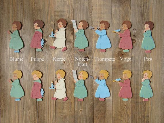 gift idea for christmas: set of 2 painted wooden child figure in vintage style for nursery room handmade guardian angel or good luck charm