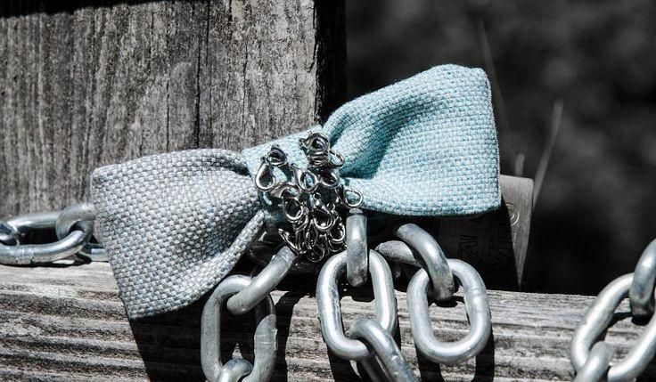 Papillon in cotone grigio e azzurro di Papilau su Etsy