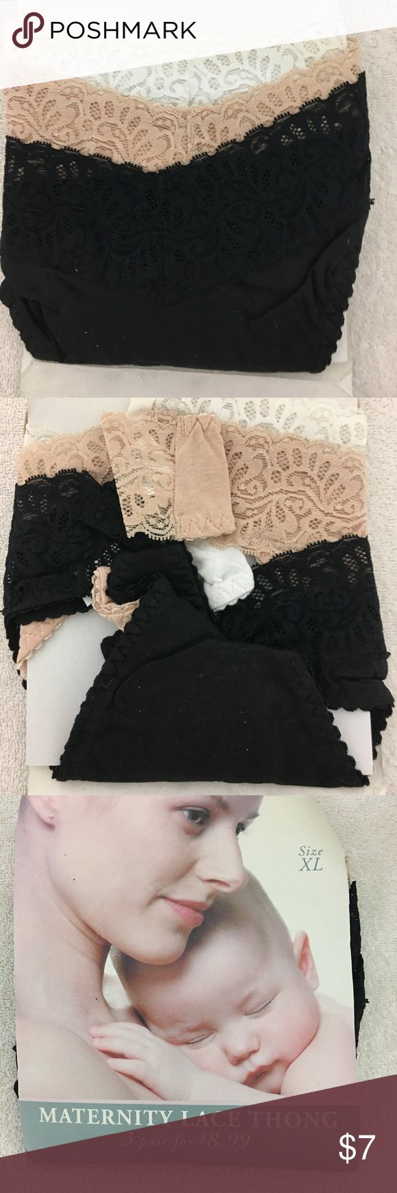 New 3-Pack Ashley Taylor Maternity Thongs Lace XL New Ashley Taylor Maternity Thongs, Set of 3, never worn.  Colors: White, Black & Nude. Lace Trim Detail.  Pretty. Ashley Taylor Intimates & Sleepwear Panties