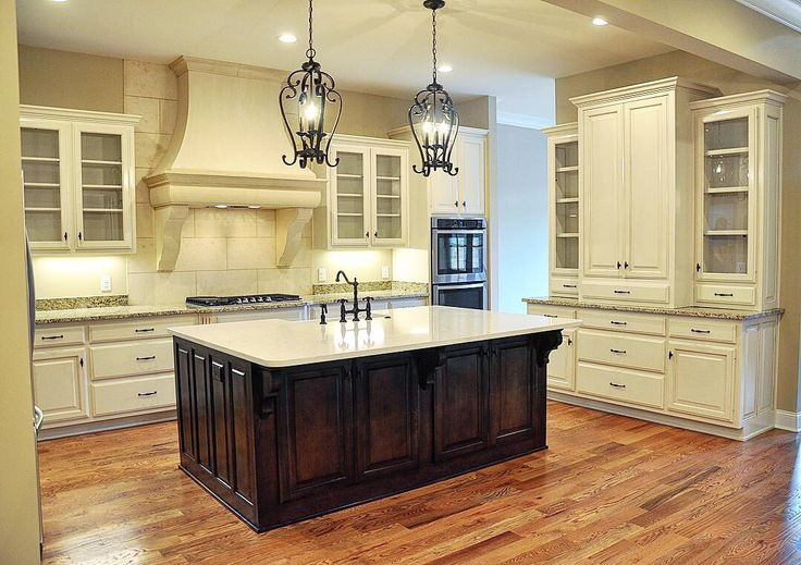 Soft Antique White with a Chocolate glaze. Island stained ...