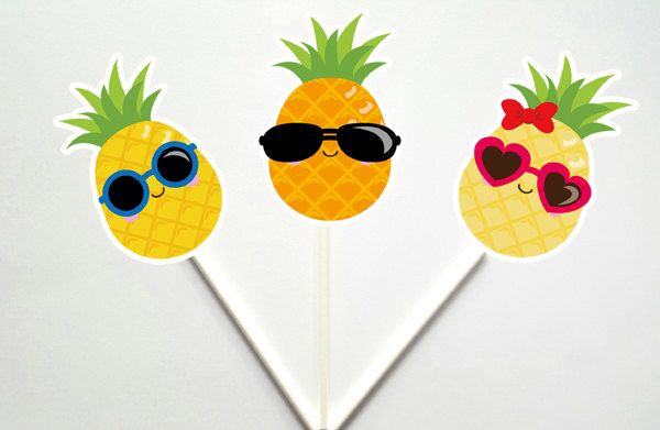 Pineapple Cupcake Toppers, Pineapple Cake Topper, Luau Cupcake Toppers, Fruit…