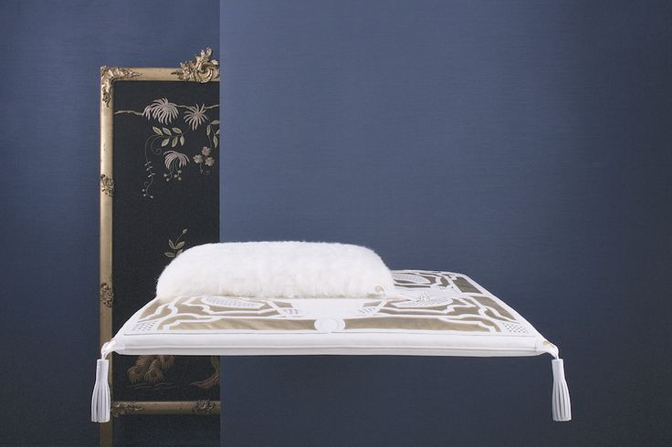 Made to Order pet bed with rich decor in white and gold leather