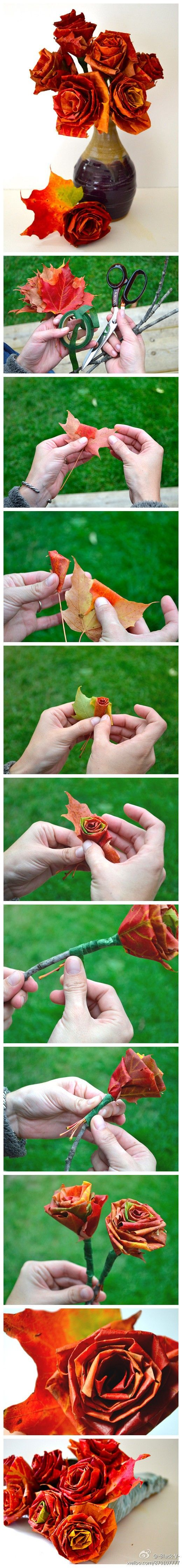 Turn fall leaves into seasonal roses for a centerpiece!...How Neato!