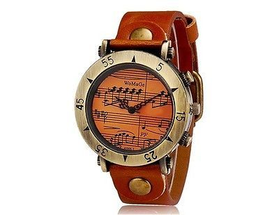 WOMAGE 568 Women's Music Note Round Dial Analog Display Wrist Watch Light Brown