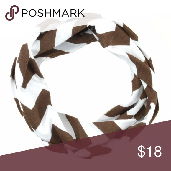 """$25 Baby Infinity Scarf Brown White Chevron Stripe Brown Chevron Striped Baby Infinity Scarf Winter Made with care of poly/cotton blend Approx. 5"""" x 40"""" round  Stylish & warm baby Brown Chevron Striped infinity scarf Handmade Accessories Scarves & Wraps"""