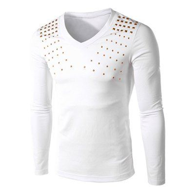 Material: Cotton Blends  Sleeve Length: Full  Collar: V-Neck  Style: Fashion  Weight: 0.280KG  Package Contents: 1 x T-Shirt  Embellishment: Rivet  Pattern Type: Solid  Our SizeBustLengthShoulder WidthSleeve Length M90644161 L94654262 XL98664363 2XL102674464
