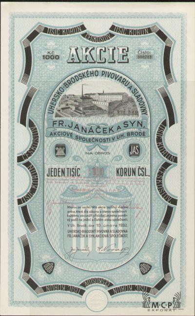 Muzeum cennych papiru A0451 Uhersko-brodský pivovar a sladovna Fr. Janáček a syn, akciová společnost 1932