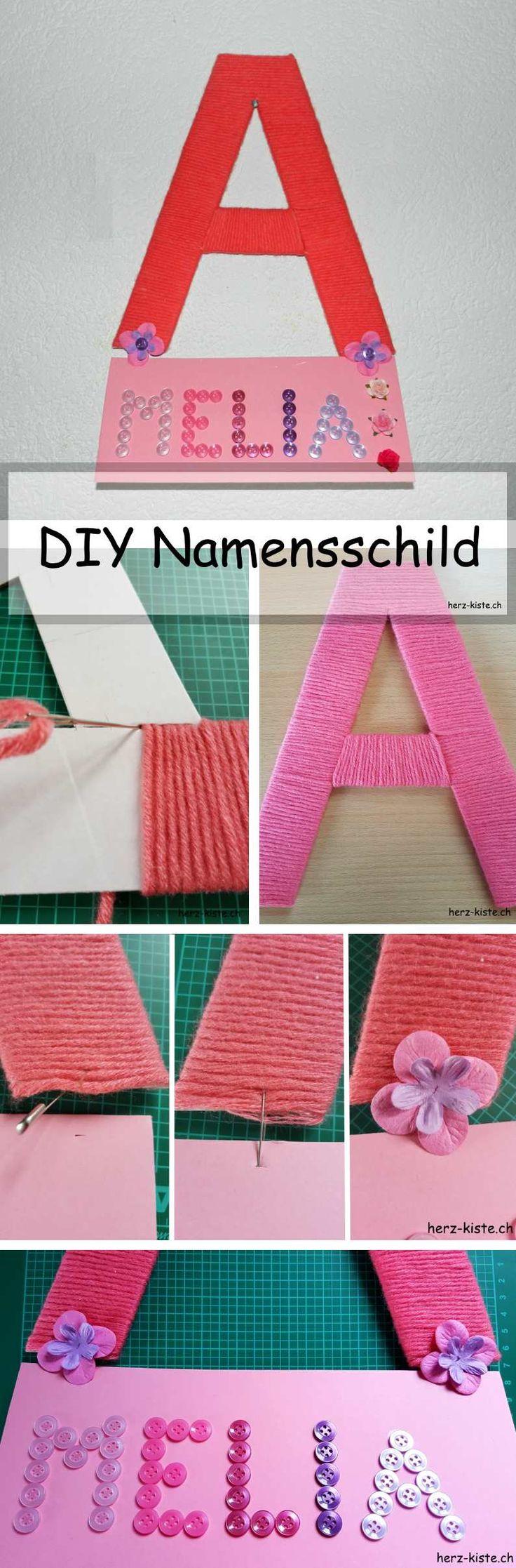 Fancy DIY Namensschild aus Karton und Wolle einen Buchstaben gestalten