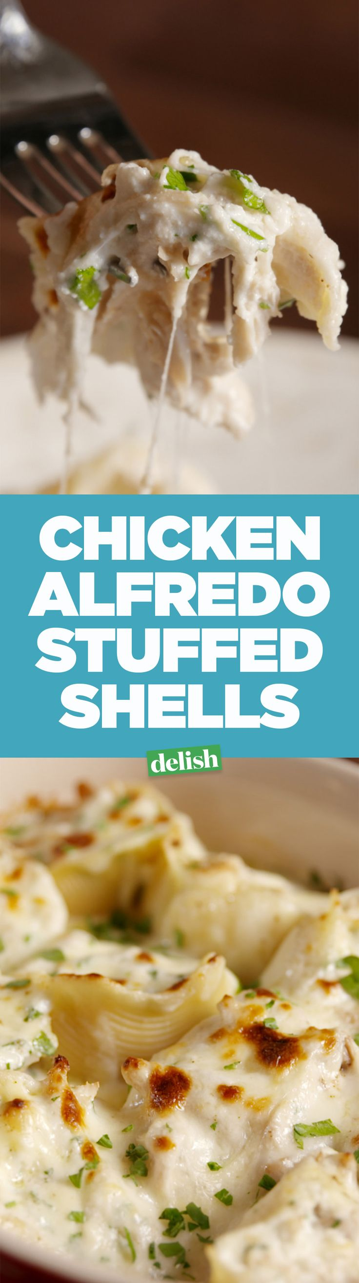 Chicken alfredo stuffed shells are easily the best way to eat chicken alfredo. Get the recipe on Delish.com.