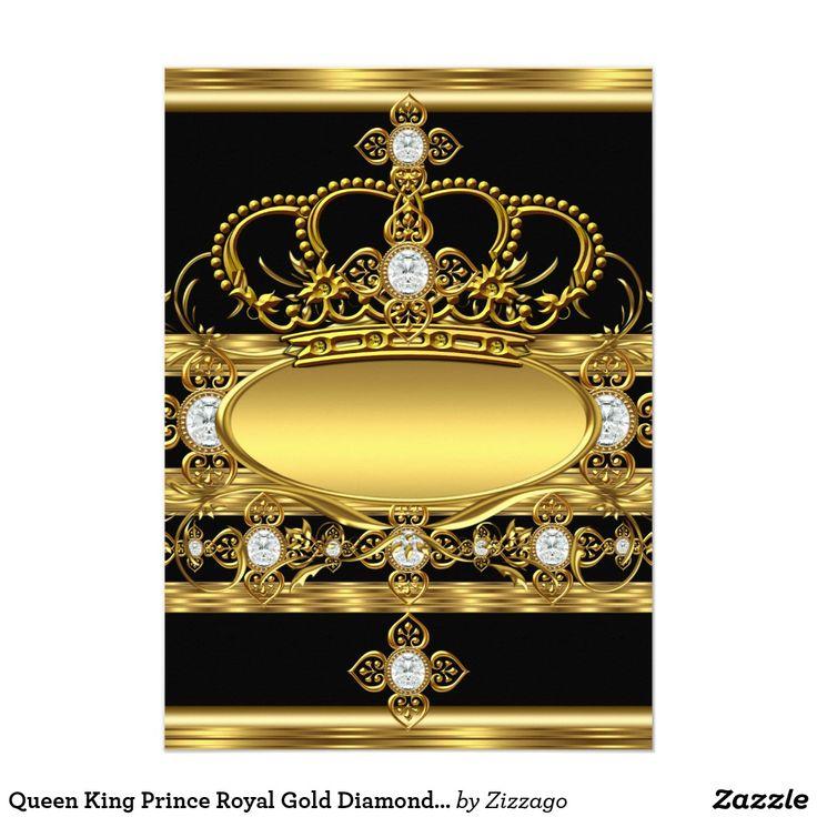 Królowa Król Książę Royal Gold Diamentowy Korona Party karty   Zazzle