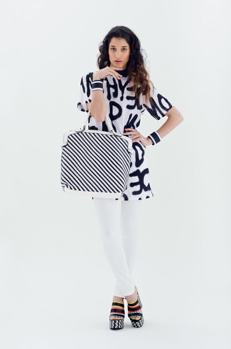 Black & White Printed T-shirt Dress | Antonella Boutique #CheapMonday #Yerse #Ras #fashion #Printed #boutique #AntonellaBoutique #TShirtDress