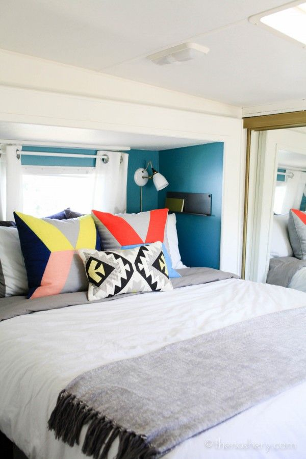 The Noshery | Tiny House Living: Camper Home Reveal | Lovell Sconce above the bed!