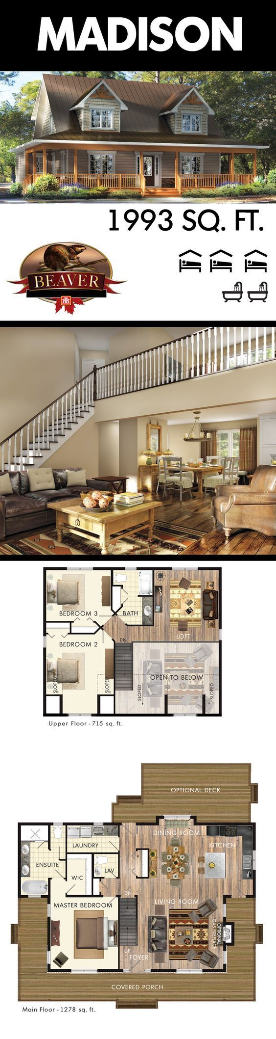 The Madison is designed with a Cape Cod feel. A sprawling open concept living room with two-story ceiling creates a spacious living space. #BeaverHomesAndCottages: