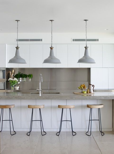 Great detail with the stools matching the flare of the pendants! | Justine Hugh-Jones Design