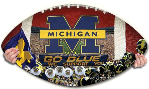 NCAA Michigan Wolverines Football Shaped Puzzle -- Click image for more details.Note:It is affiliate link to Amazon.