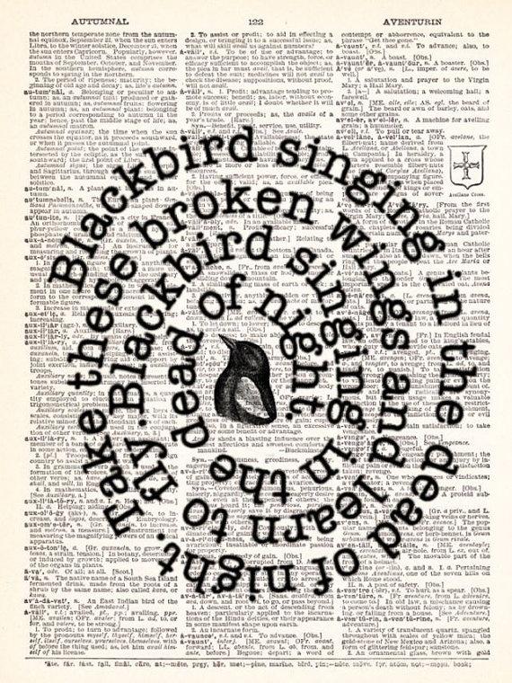 The Beatles - Blackbird Song Lyrics - Vintage Dictionary Print Vintage Book Print Page Art Upcycled Vintage Book Art