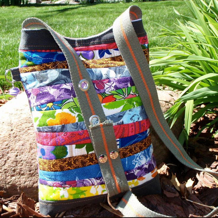 Hand-quilted Patchwork Purse made of Repurposed Fabric