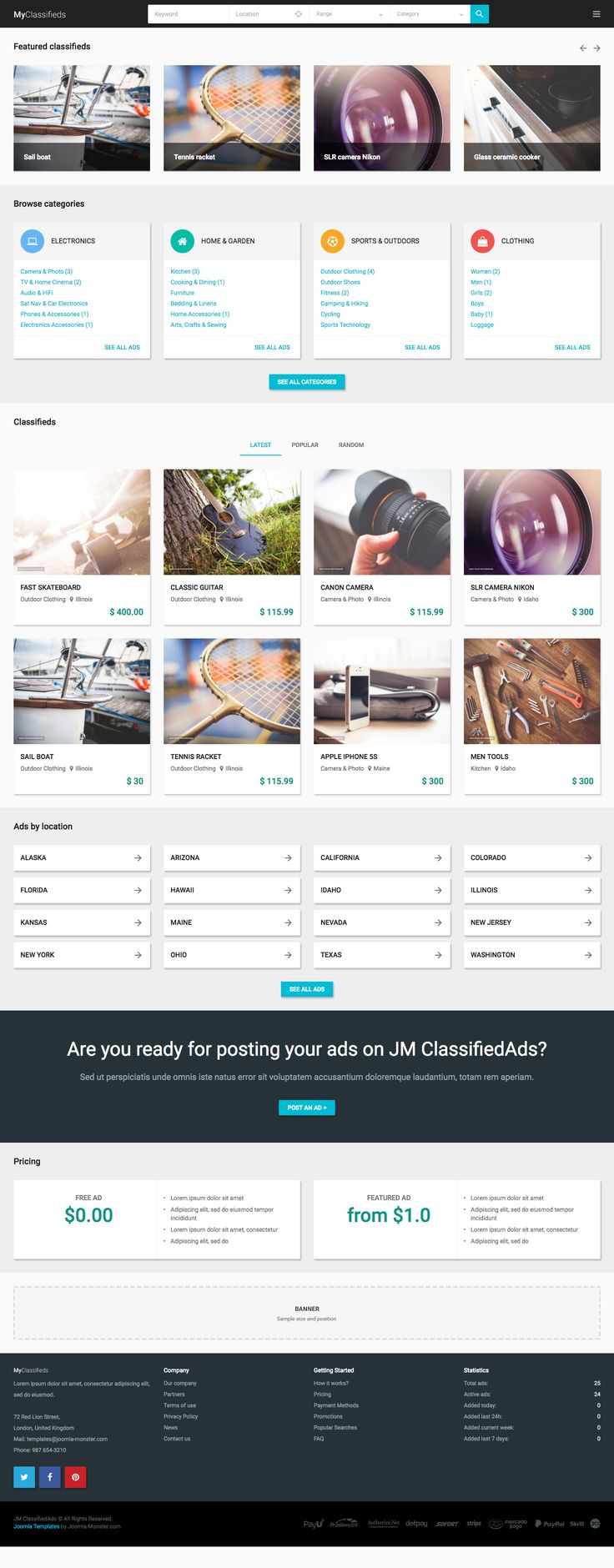 Joomla classified ads template/builder.  Front page.