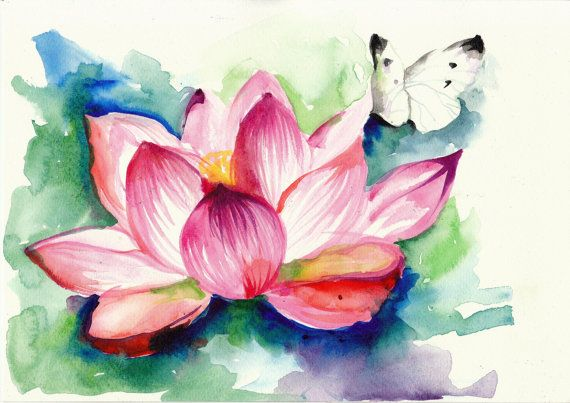 White Butterfly on Lotus Flower - by AquaGest