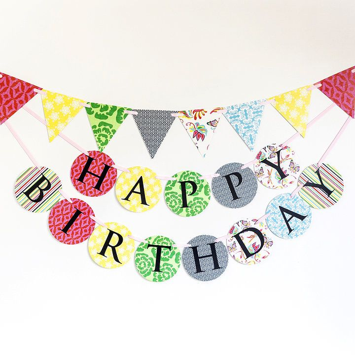 'Dreams of paradise' bright coloured Made for Ava birthday banner and bunting set