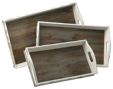 White Wood Serving Trays, Set of 3 - transitional - Serving Trays - Step. & Lizzie