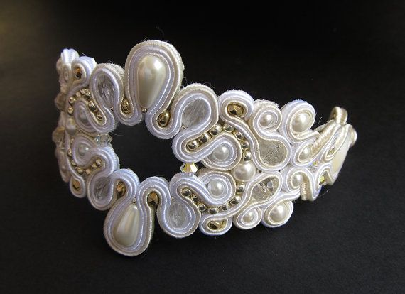 Soutache bracelet natural shell, crystal beads.Wedding.Ivory bracelet, unique gifts for her, christmas
