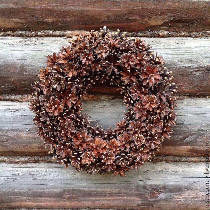 """Купить Венок из шишек """"Зимний"""" - коричневый, венок, венок на дверь, шишки, Новый Год, рождество"""