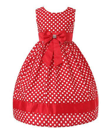 Red Polka Dot Bow Dress - Toddler & Girls #zulily #zulilyfinds