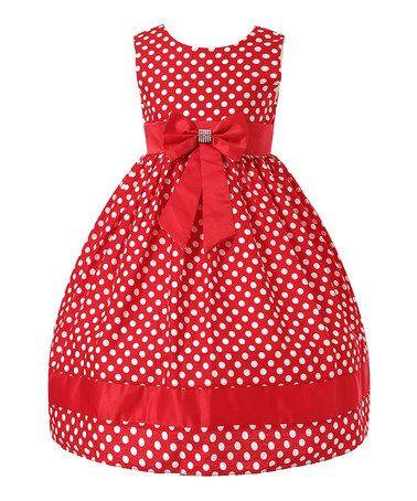 Red Polka Dot Bow Dress - Toddler & Girls #zulily #zulilyfinds