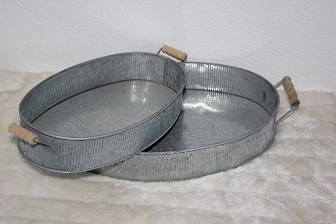 2er Set Zink Tabletts Zinktablett Metalltablett Tragetablett