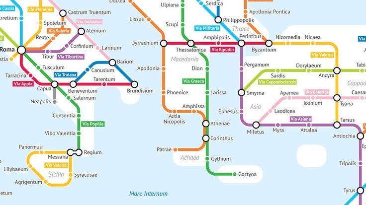 A Tube-style Map of Roman Roads 我是中国大陆人,喜欢就关注哦!