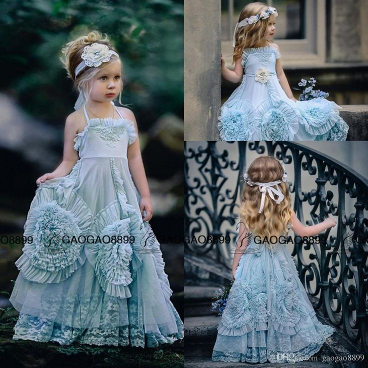 vintage mint blush flower girls dress